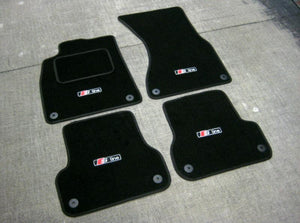 Car Mats in Black - Audi A6 C7  (2011 on) + S-Line Logos (x4) + Fixings