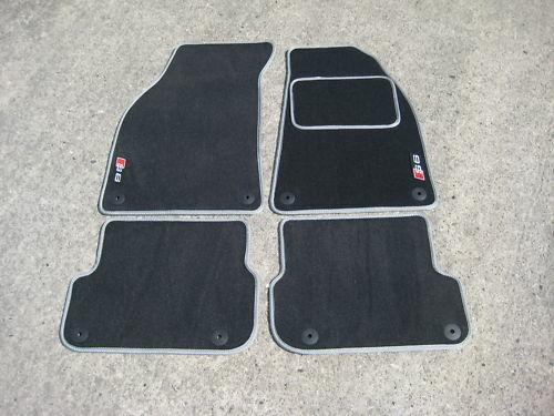Car Mats in Dark Grey with Silver trim to fit Audi S6 C5 (1999-2003) + S6 Logos