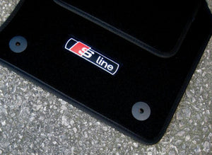 "Black SUPER VELOUR Car Mats - Audi A3 Car Mats 8V (12 on) + ""S-Line"" Logos (x4) + Fixings"
