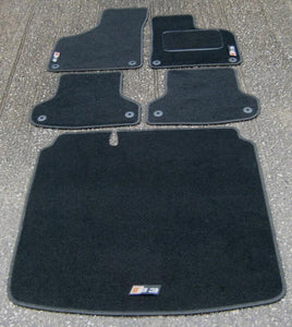 Car Mats in Black to fit Audi S3 8P (2006-2012) + S3 Logos + Boot Mat + Fixings