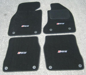 Black SUPER VELOUR Car Mats to fit Audi RS6 C5 (2002-2004) + RS6 Logos (x4)
