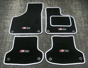 Black/White SUPER VELOUR Car Mats - Audi A4 Cab (B6+B7 01-08) + S-Line Logos x4