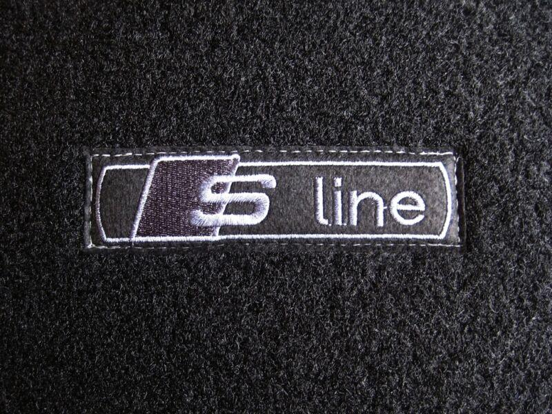 Black Edition Car Mats to fit Audi A3 Car Mats 8P (03-12) + Carbon S-Line Logos (x4)