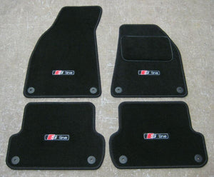 Car Mats in Black to fit Audi A4 Cabriolet (B6+B7 2001-2008) + S-Line Logos (x4)