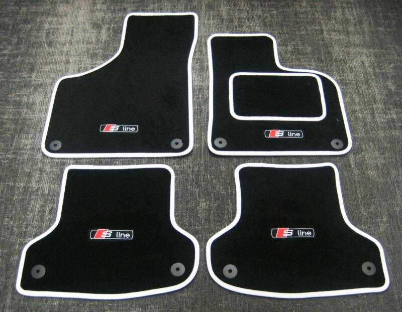 Black/White Car Mats to fit Audi A4 B8 (2008-2015) + S-Line Logos (x4) + Fixings