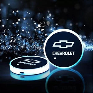(Only £11.99 TODAY) 7 Colors Led Changing Car Logo Cup Coaster(1PC), TYPE - CHEVROLET