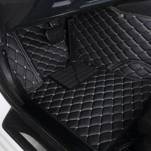 Custom Car Floor Mat in Leather with Diamond Stitching