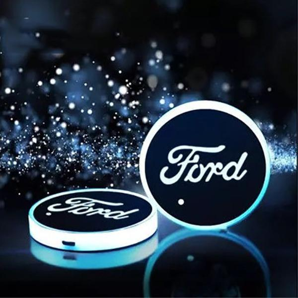 (Only £11.99 TODAY) 7 Colors Led Changing Car Logo Cup Coaster(1PC), TYPE - FORD