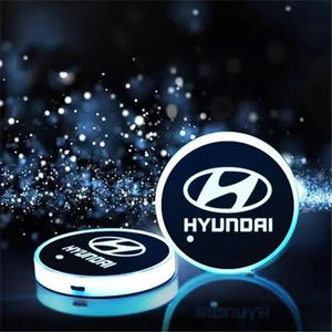 (Only £11.99 TODAY) 7 Colors Led Changing Car Logo Cup Coaster(1PC), TYPE - HYUNDAI