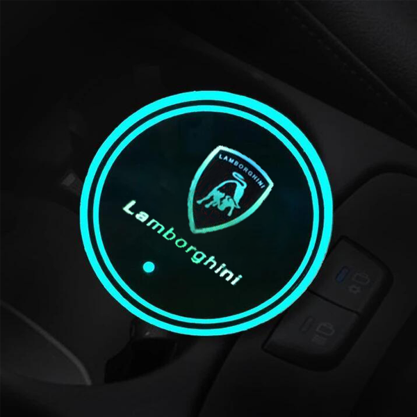 (Only £11.99 TODAY) 7 Colors Led Changing Car Logo Cup Coaster(1PC), TYPE - Lamborghini