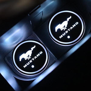 (Only £11.99 TODAY) 7 Colors Led Changing Car Logo Cup Coaster(1PC), TYPE - MUSTANG