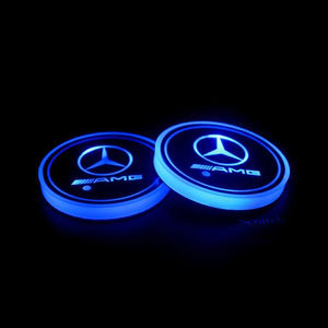 (Only £11.99 TODAY) 7 Colors Led Changing Car Logo Cup Coaster(1PC), TYPE - Mercedes AMG