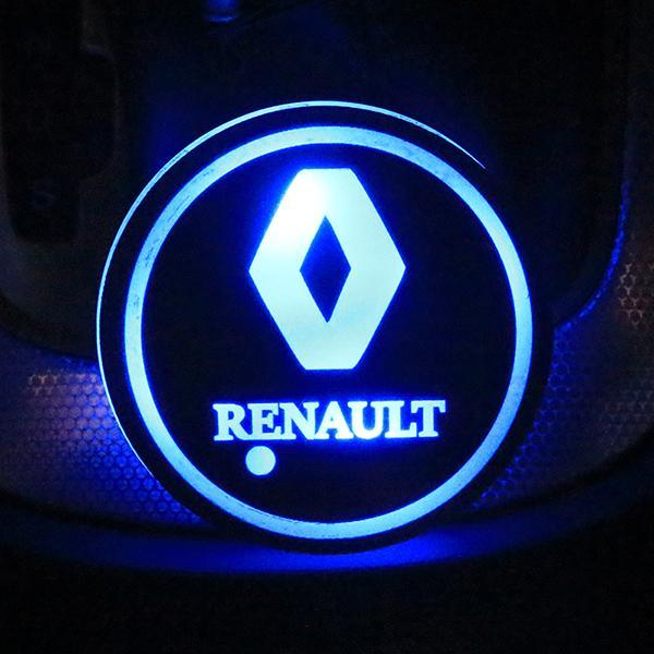 (Only £11.99 TODAY) 7 Colors Led Changing Car Logo Cup Coaster(1PC), TYPE - RENAULT