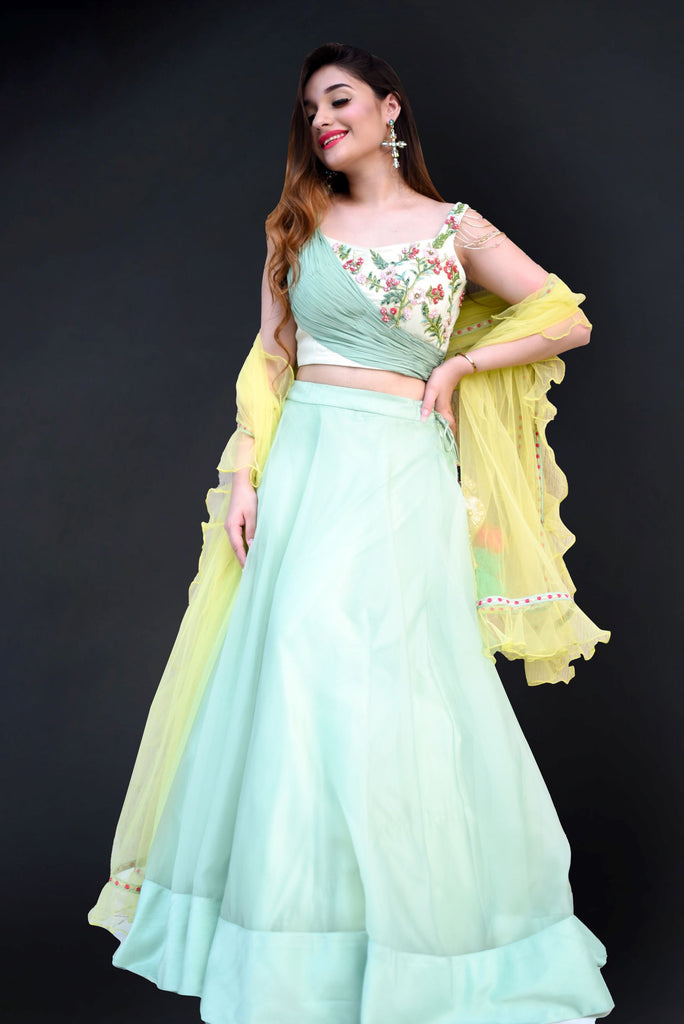 Lime Green Lehenga and blouse-Lehenga-RAASA COUTURE-6degree.store