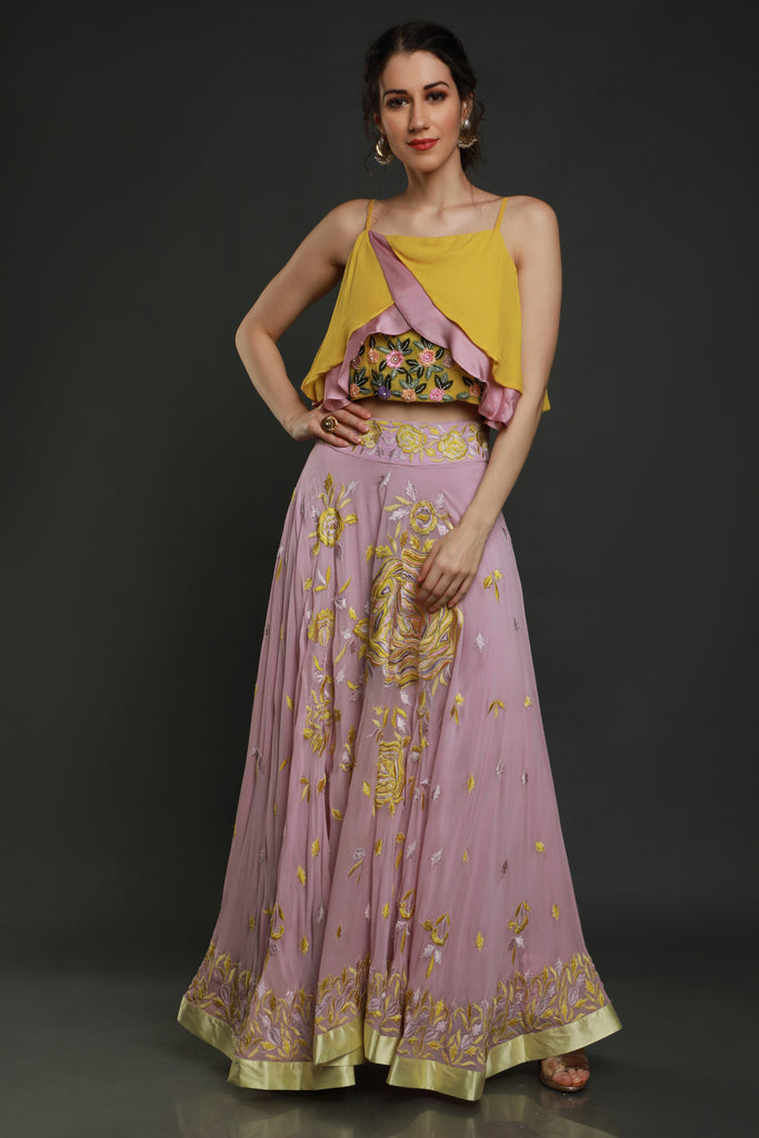 Lavender Skirt With Layered Blouse-Lehenga set-SEJAL KAMDAR-6degree.store
