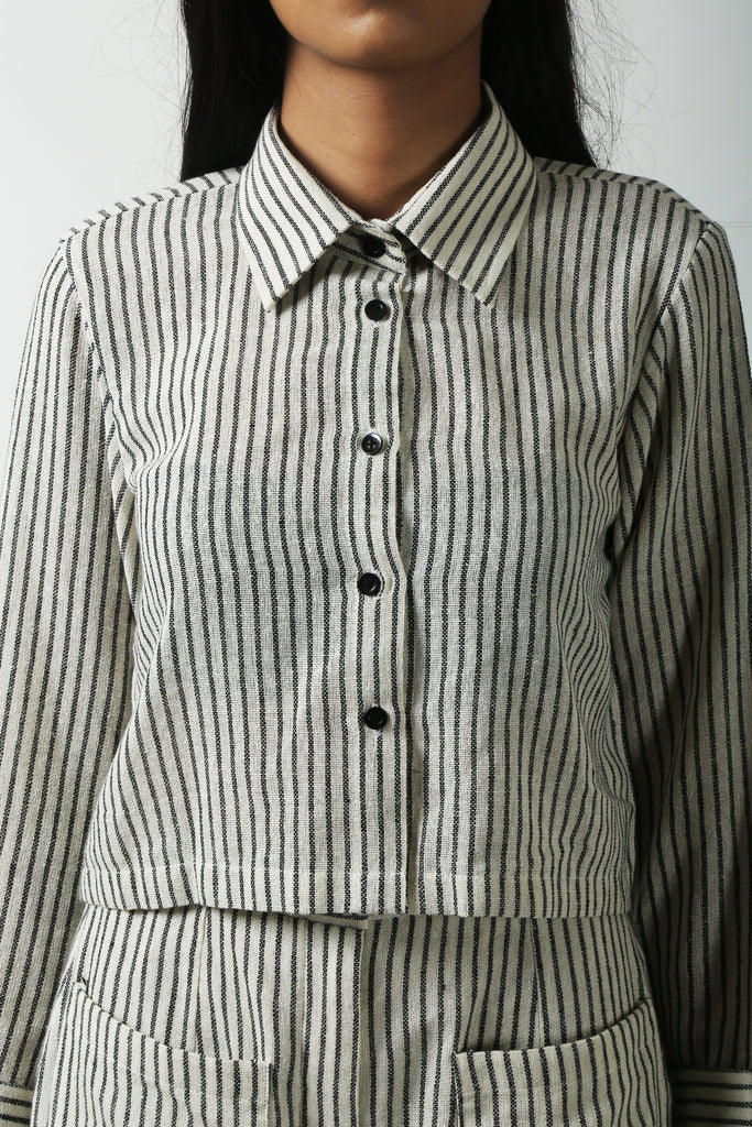Striped Crop Shit-Shirts-AT 44-6degree.store