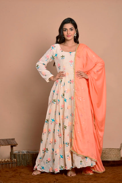 Light Peach Anarkali With Peach Dupatta-Anarkali Set-RANGPUR-6degree.store