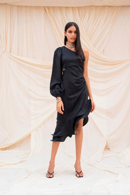 Black Jacquard Dress-Dress-URBAN SUBURBAN-6degree.store