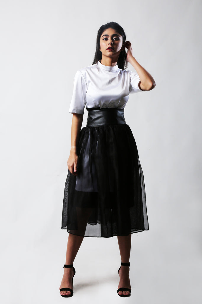 Classic white dress & organza skirt-Co-ords-AT 44-6degree.store