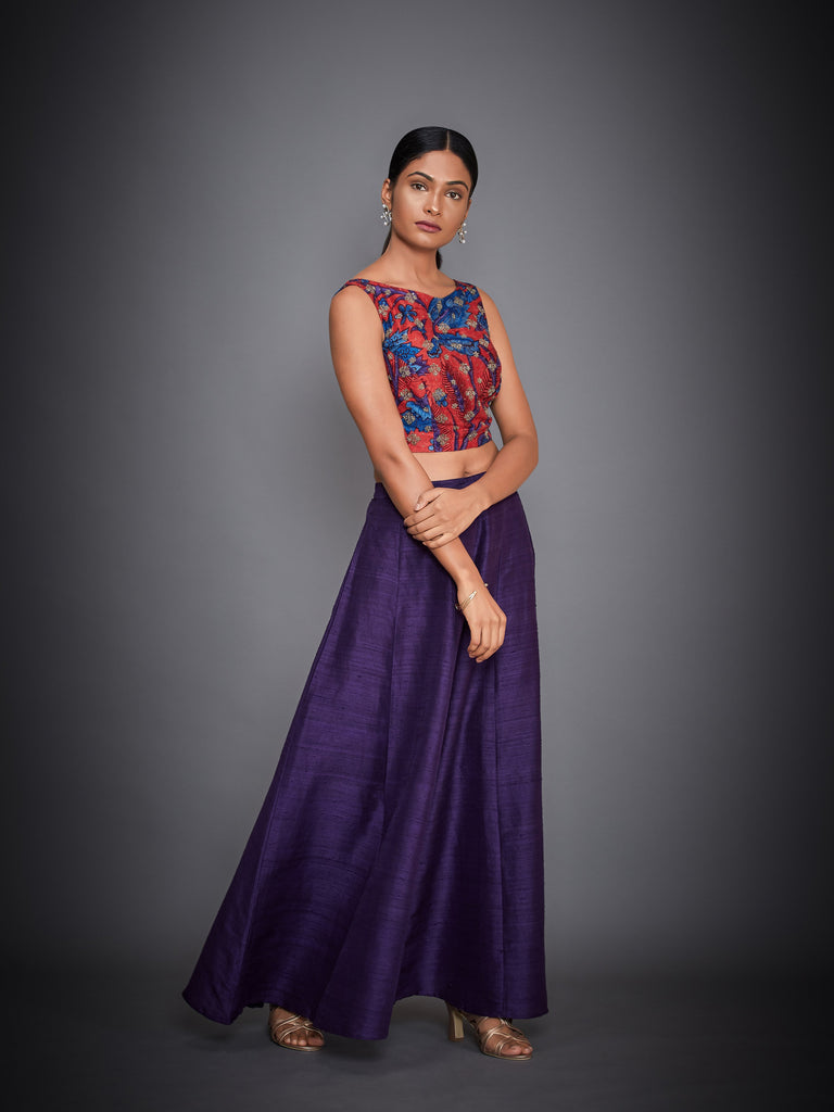 Purple & Coral Embroidered Crop Top With Palazzo-Palazzo Set-RI Ritu Kumar-6degree.store