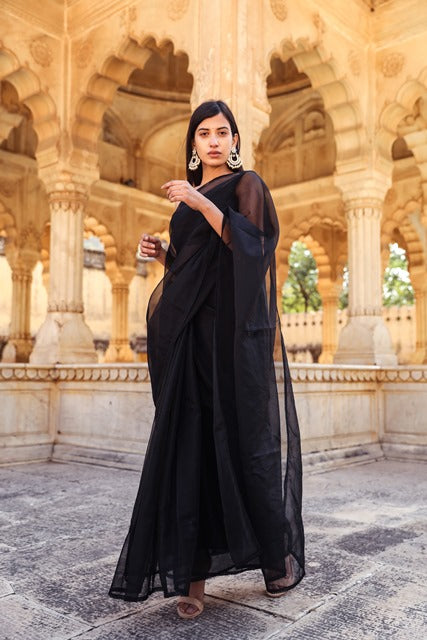 Black Organza Saree-Saree-A'SRUMO-6degree.store