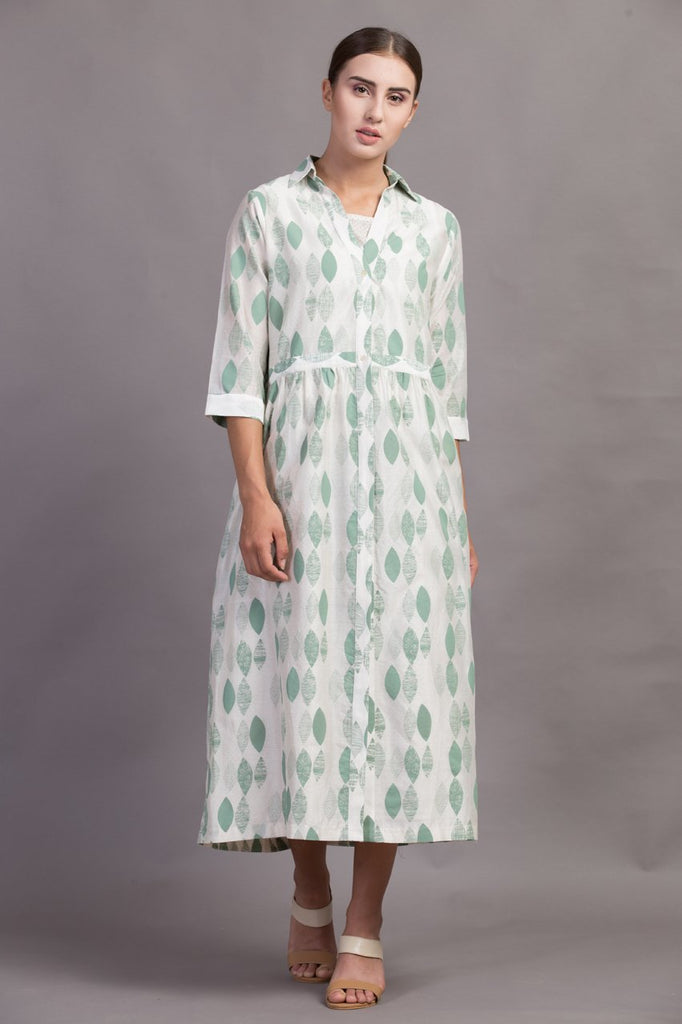 Ivory/Green Double Layer Leaf Printed Dress-Dress-ARCVSH by Pallavi Singh-6degree.store