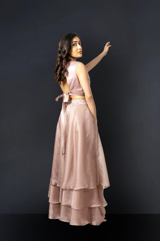 Salmon Pink Skirt and Crop top-Lehenga-LABEL NAYNA KAPOOR-6degree.store