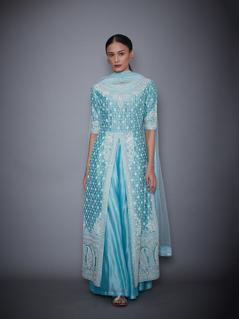 Aquamarine Embroidered Kurta With Palazzo & Dupatta-Palazzo Set-RI Ritu Kumar-6degree.store
