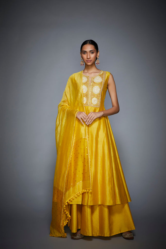 Yellow Round Neck Sleeveless Floral Kurta With Palazzo and Dupatta-Palazzo Set-RI Ritu Kumar-6degree.store