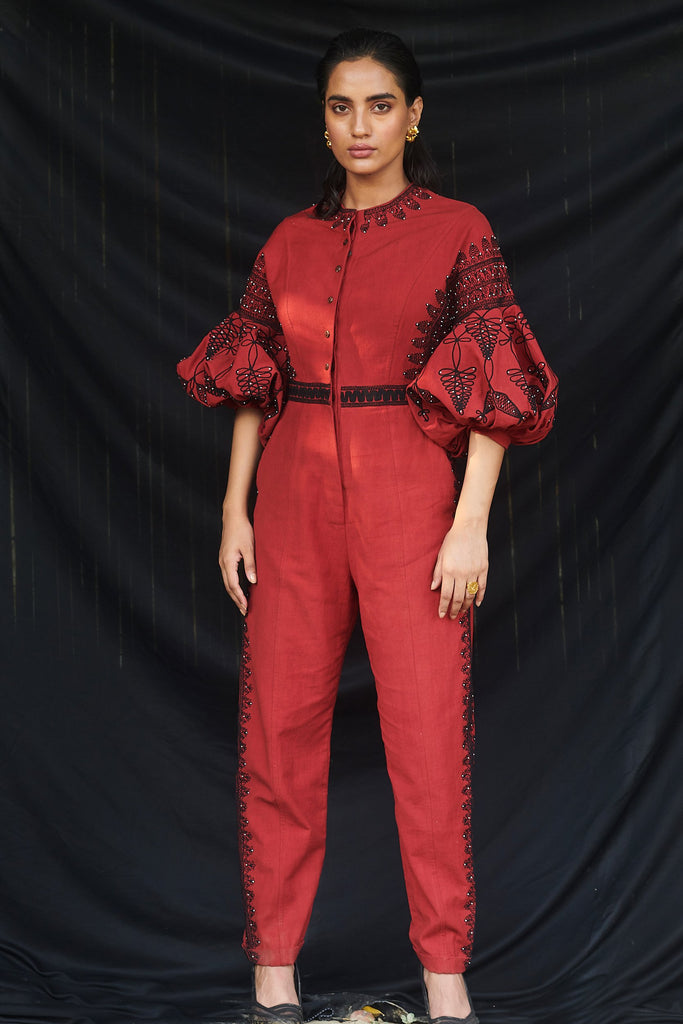 Red Kala Cotton Cord Work Jumpsuit-Jumpsuit-CHANDRIMA-6degree.store