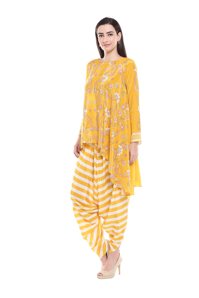 Yellow Asymmetric Top with Dhoti-Dhoti Set-SOUP BY SOUGAT PAUL-6degree.store