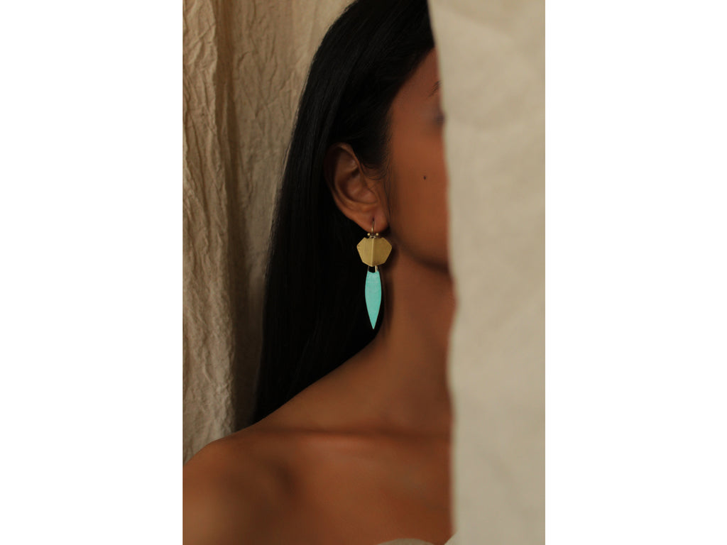 Shield Mantis Teal Earring-Earrings-DOOKDI-6degree.store