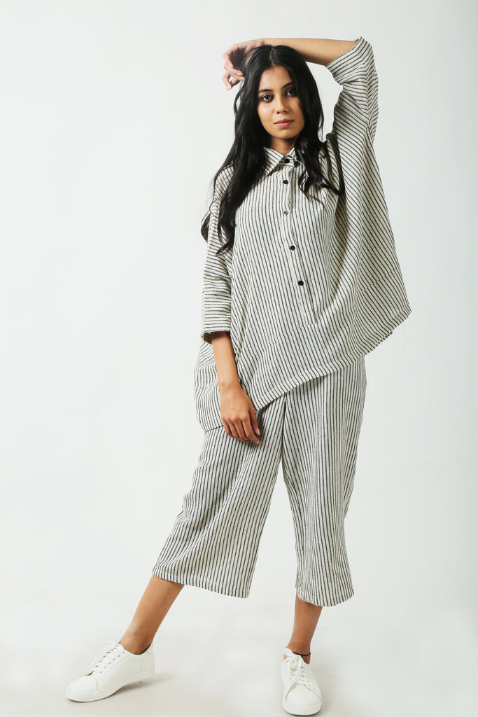 Striped linen crops-Pants-AT 44-6degree.store
