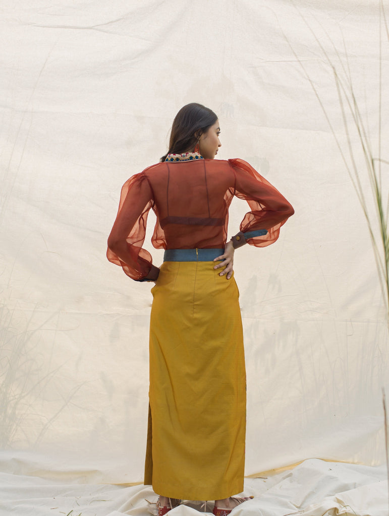 Red and Yellow Shirt + Skirt-Co-ords-OUSHK ENSEMBLE-6degree.store