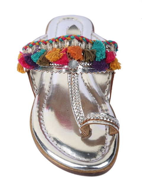 Silver Tassel Kolhapuri-Accessories-5 ELEMENTS-6degree.store