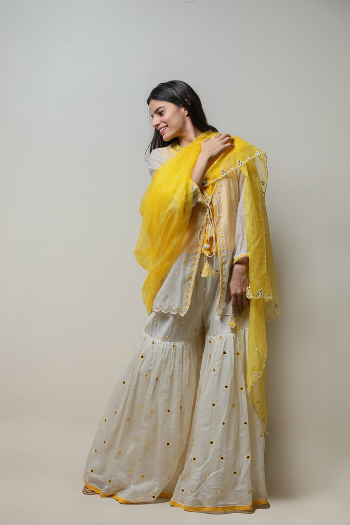Off White Chanderi Sharara Set-Sharara Set-AERI BY PC-6degree.store