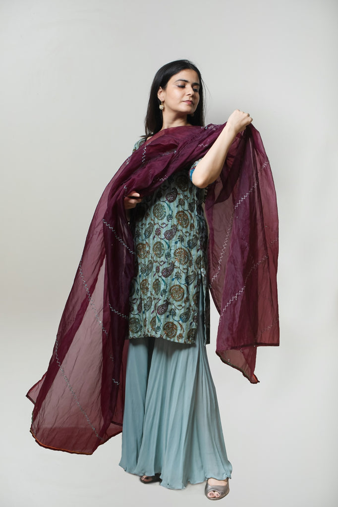 Grayish Blue Printed Silk Kurta With Chiffon Sharara Set-Sharara Set-AERI BY PC-6degree.store
