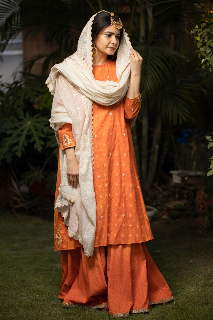 Orange Banarasi Kurta With Sharara Set-Sharara Set-AERI BY PC-6degree.store