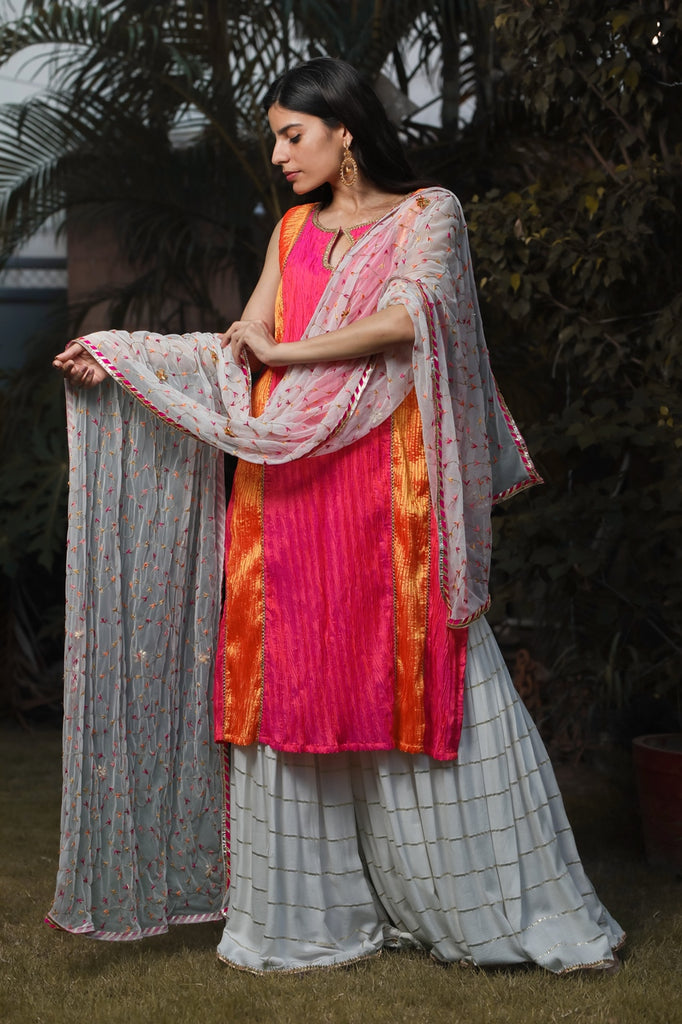 Pink And Orange Textured Kurta With Striped Sharara Set-Sharara Set-AERI BY PC-6degree.store