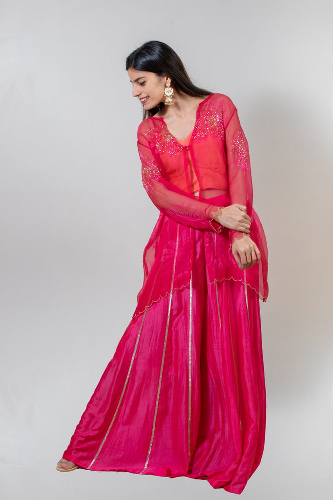 Hot Pink Sharara Set-Sharara Set-AERI BY PC-6degree.store
