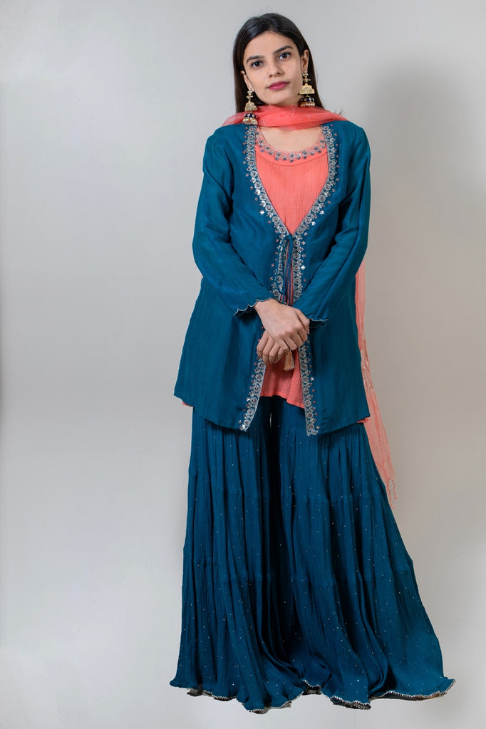 Prussian Blue Sharara Set-Sharara Set-AERI BY PC-6degree.store