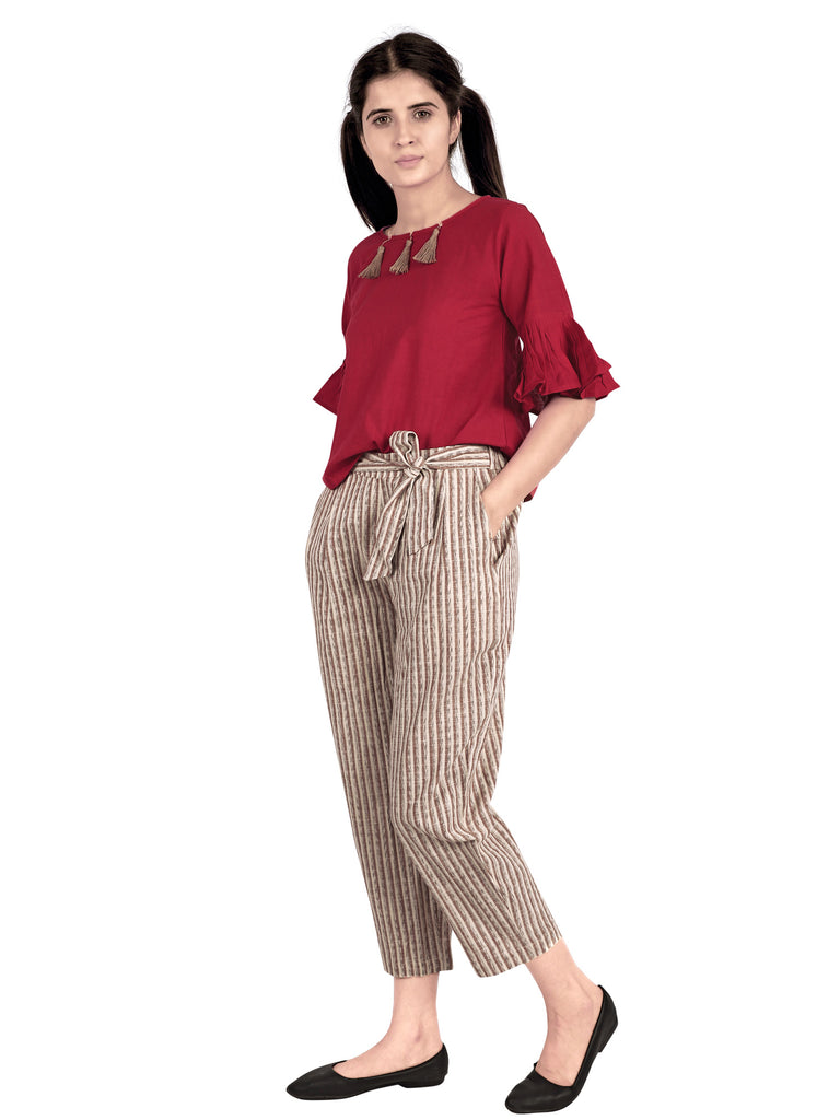 Red bell sleeves top with Waist tie up Casual Pant-Co-ord-MESMORA-6degree.store