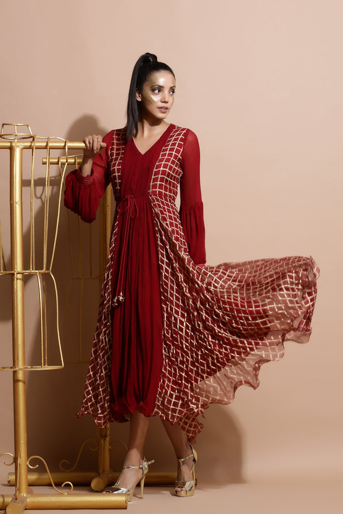 Deep red cubic print Dress-Indo Western-Pallavi Jaipur-6degree.store
