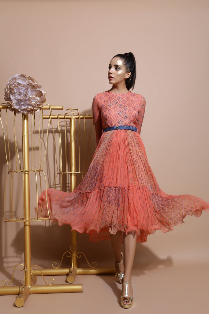 Salmon midi Dress with Printed Belt-Indo Western-Pallavi Jaipur-6degree.store