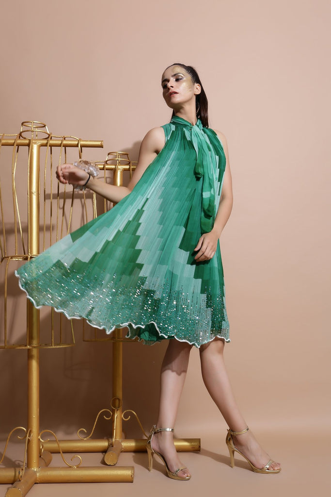 Green sequin Embroidered Dress-Indo Western-Pallavi Jaipur-6degree.store
