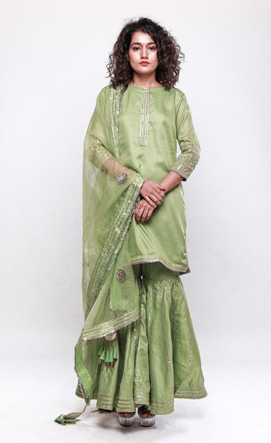 Kurta and Sharara with silver Gota Patti-Sharara Set-SEJAL KAMDAR-6degree.store