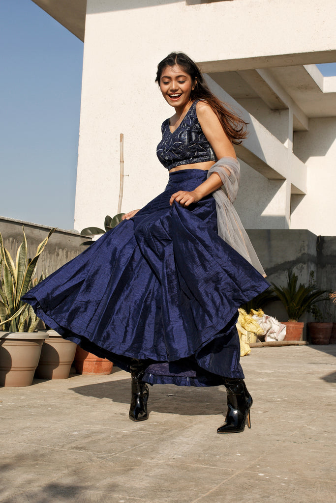 Indigo Crop Top Lehenga Set-Lehenga Set-SYLK BY AANCHAL-6degree.store