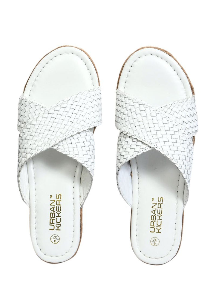 White Weaved Cross Strap Sandals-Accessories-URBAN KICKERS-6degree.store