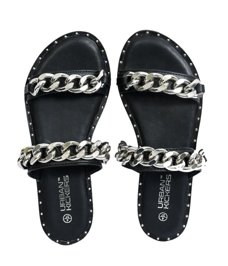 Black Stylish studded, two strap chain sandal-Accessories-URBAN KICKERS-6degree.store