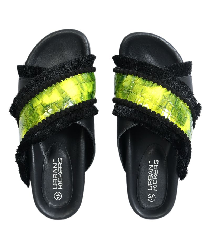 Black Leather Flats with Neon Straps-Accessories-URBAN KICKERS-6degree.store